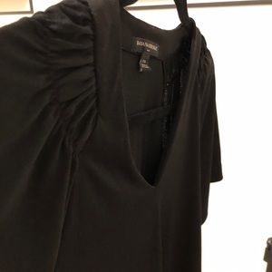 Black professional shirt with ruffle shoulder